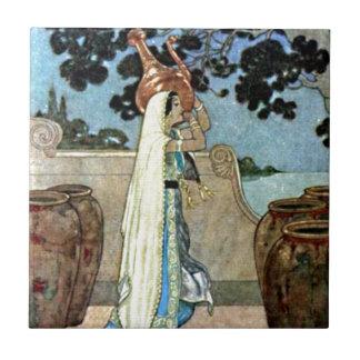Mujer de las noches árabes en el ejemplo bien azulejo cuadrado pequeño