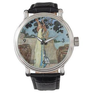 Mujer de las noches árabes en el ejemplo bien relojes