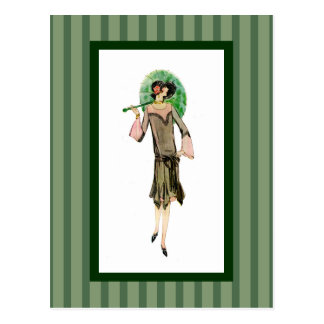 mujer de los años 20 con el parasol verde postal