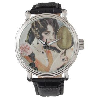 Mujer de los años 20 del vintage relojes