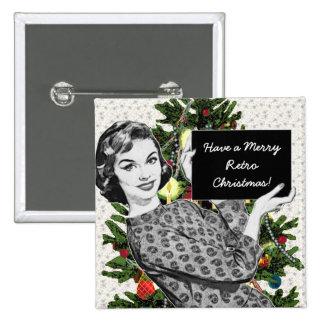 mujer de los años 50 con una muestra del navidad pin cuadrada 5 cm