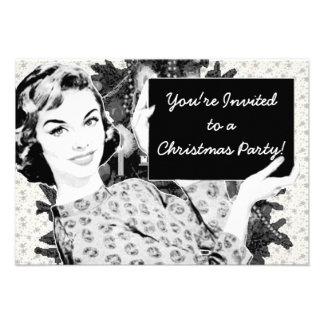 mujer de los años 50 con una muestra V2 del navida Invitacion Personal