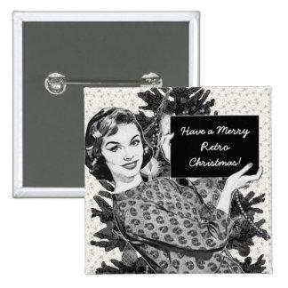 mujer de los años 50 con una muestra V2 del Pin Cuadrada 5 Cm