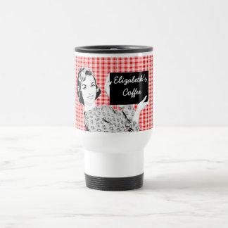 mujer de los años 50 con una muestra V2 Taza De Café
