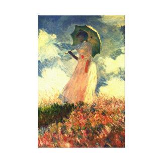 Mujer de Monet con bella arte de la sombrilla
