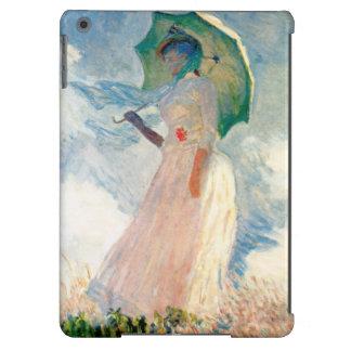 Mujer de Monet con caso del iPad del parasol un mi