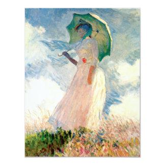 """Mujer de Monet con las invitaciones de un parasol Invitación 4.25"""" X 5.5"""""""