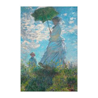 Mujer de Monet con una bella arte del parasol