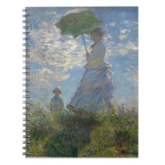 Mujer de Monet con una bella arte del parasol Libreta Espiral