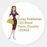 Mujer de negocios con clase y elegante pegatina redonda