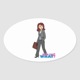 Mujer de negocios pegatina ovalada