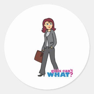 Mujer de negocios pegatina redonda