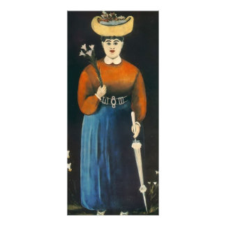 Mujer de Niko Pirosmani- con las flores y el paras Lona Publicitaria