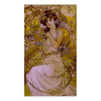 Mujer de Nouveau del arte con el Clematis Tarjeta De Visita