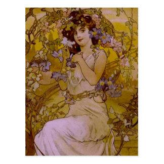 Mujer de Nouveau del arte con el Clematis Postales