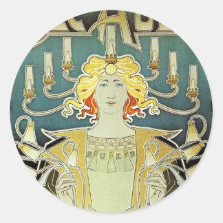 Mujer de Nouveau del arte con las velas Pegatina Redonda