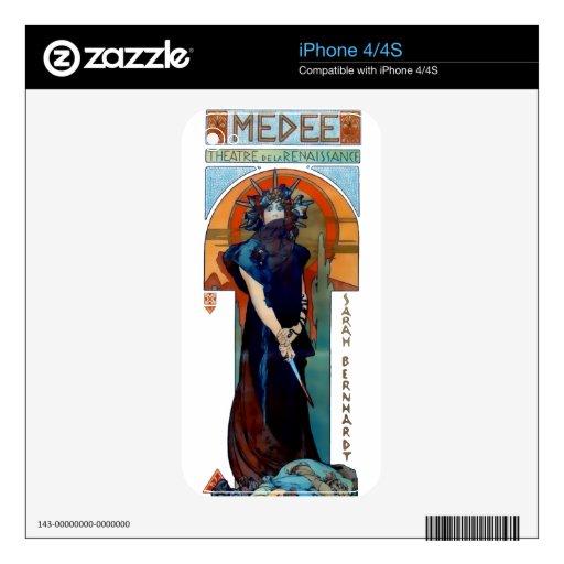 Mujer de Nouveau del arte de Mucha Medee iPhone 4S Skins