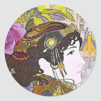Mujer de Nouveau del arte Pegatina Redonda
