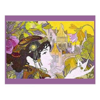 Mujer de Nouveau del arte Postales