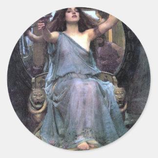 Mujer de ofrecimiento de Ulises de la taza del Pegatina Redonda