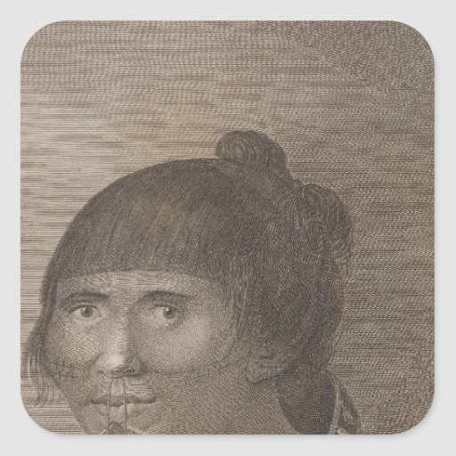 Mujer de Oonalashka, Alaska Pegatina Cuadrada