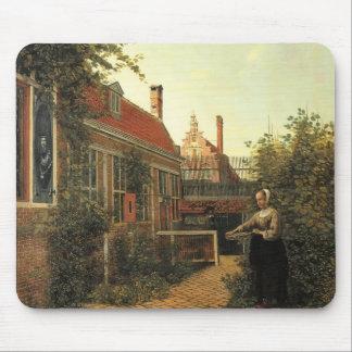 Mujer de Pieter Hooch- con la cesta de habas en ja Alfombrillas De Ratones