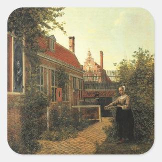 Mujer de Pieter Hooch- con la cesta de habas en Pegatinas Cuadradases Personalizadas