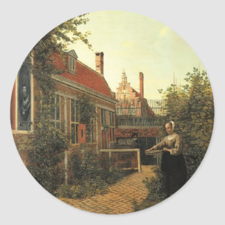 Mujer de Pieter Hooch- con la cesta de habas en Etiqueta Redonda