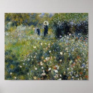 Mujer de Renoir con el parasol en jardín Póster