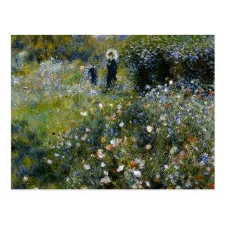 Mujer de Renoir con el parasol en jardín Tarjeta Postal