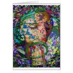 Mujer de rogación abstracta tarjetón