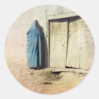 Mujer de Sart, Samarkand Pegatina Redonda