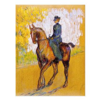 Mujer de Toulouse-Lautrec en la postal del caballo