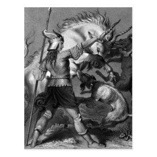 Mujer de Viking con la lanza y el casco con alas Tarjeta Postal