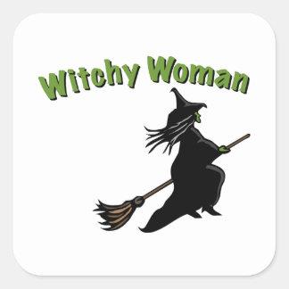 Mujer de Witchy Calcomania Cuadradas