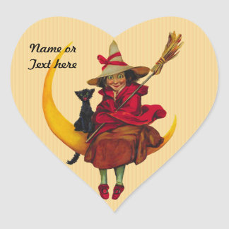 Mujer de Witchy y gato negro Pegatinas De Corazon Personalizadas