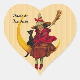Mujer de Witchy y gato negro Pegatina En Forma De Corazón