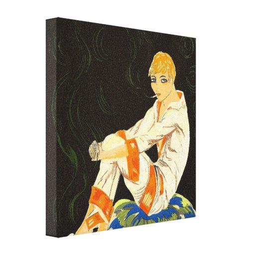 Mujer del art déco del vintage, fumando por S. Impresion En Lona