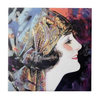 Mujer del art déco en bufanda azulejos ceramicos