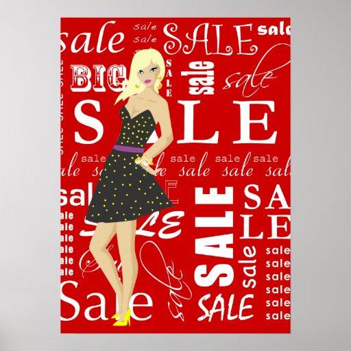 Mujer del Blonde de la moda del poster de la venta