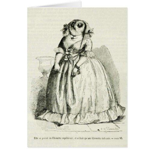 Mujer del búho del vintage tarjeta de felicitación