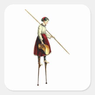 Mujer del caminante del zanco del Victorian Pegatina Cuadrada