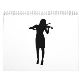 Mujer del chica del violinista calendarios de pared
