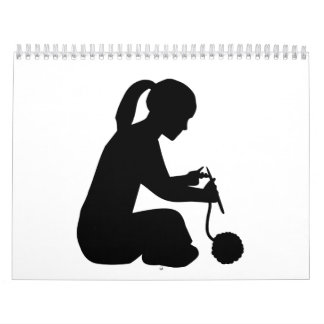 Mujer del chica que hace punto calendario de pared