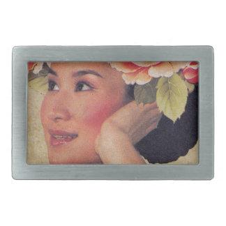 Mujer del chino del ejemplo del vintage hebilla cinturón rectangular