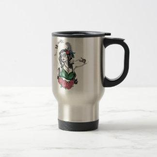 Mujer del cráneo del azúcar con los rosas tazas de café