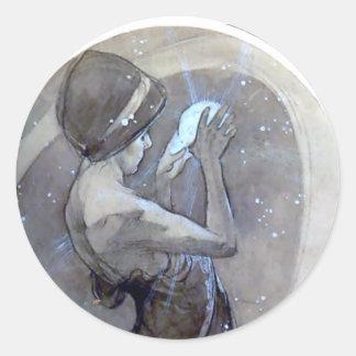 mujer del deco del nouveau del arte de la estrella pegatina redonda