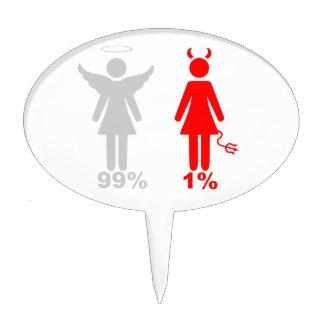 Mujer del diablo del ángel el 1% del 99% decoraciones de tartas