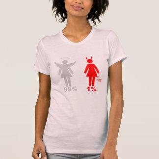 Mujer del diablo del ángel el 1% del 99% camisetas