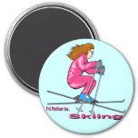 Mujer del esquí iman para frigorífico